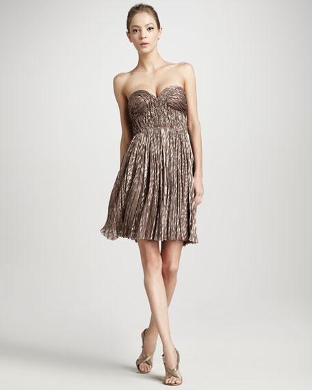 Pleated Animal-Print Dress