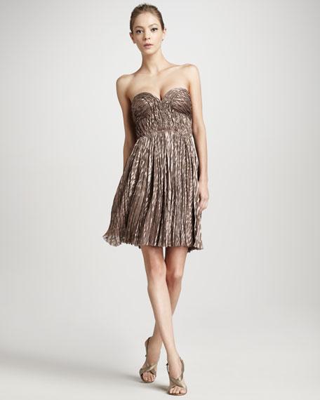 Pleated Animal-Print Dress