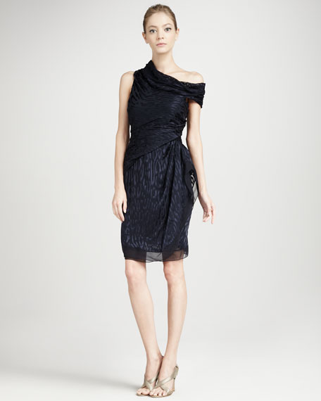 Animal-Print Cowl Dress