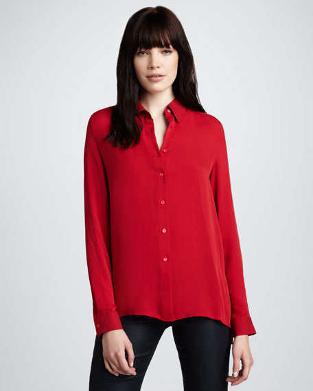 Basic Silk Blouse, Crimson