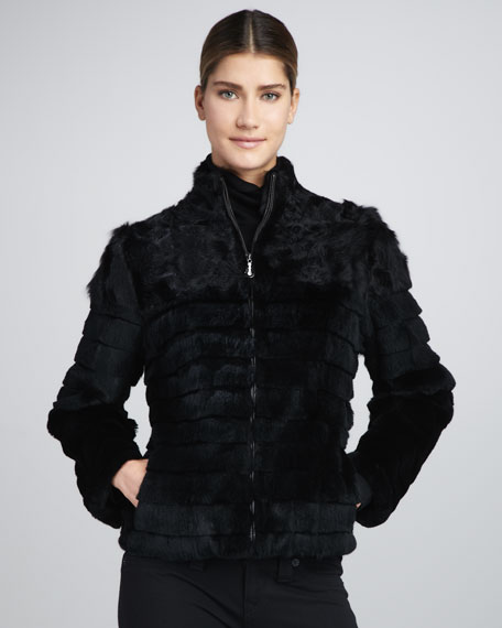 Grooved Fur Jacket
