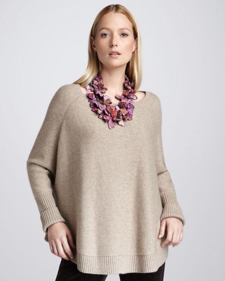 Cashmere Raglan-Sleeve Top, Petite