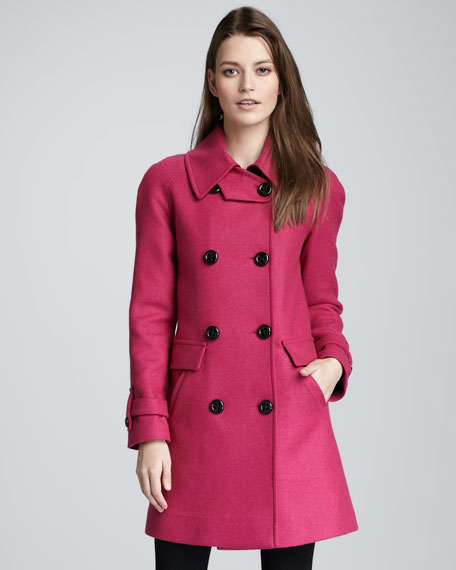 Charlotte Leather-Trim Wool Coat