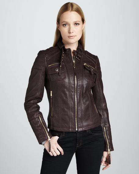 Golden-Zips Leather Jacket