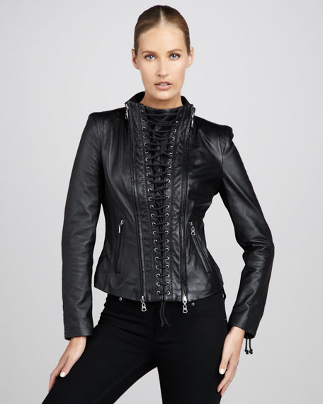 Lace-Up Leather Jacket