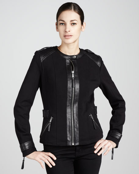 Leather-Detail Ponte Jacket