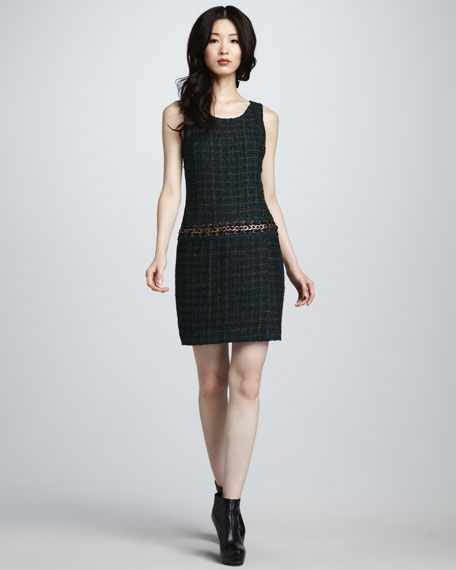 Drop-Waist Boucle Dress