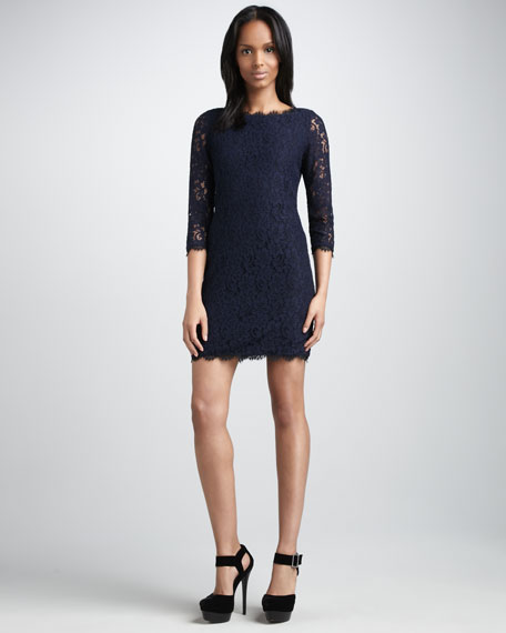 Zarita Lace Dress, Navy