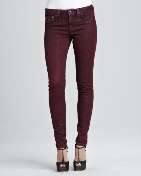 Serena Maroon Glitter Skinny Jeans