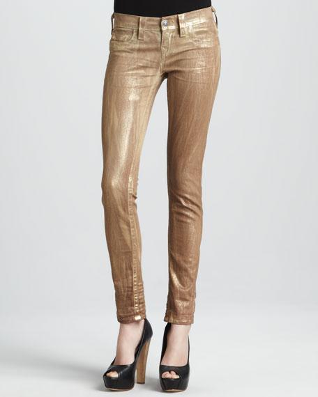 Skinny Metallic Gold Tie-Dye Jeans