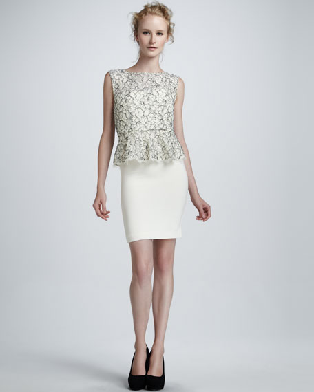 Shovan Lace-Bodice Peplum Dress
