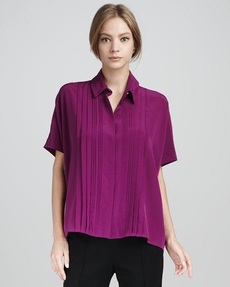 Eris Short-Sleeve Pintucked Oversize Top