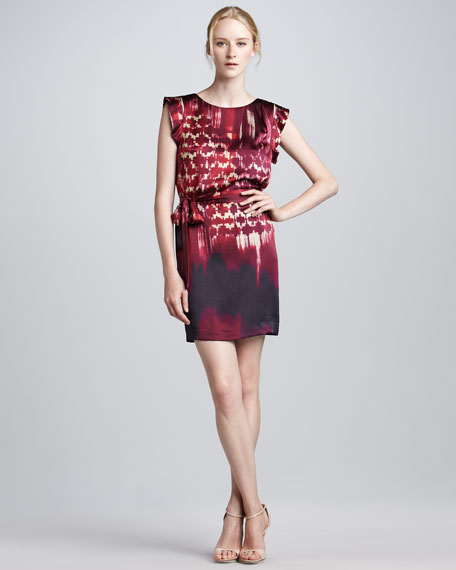 Brushstroke Silk Shift Dress