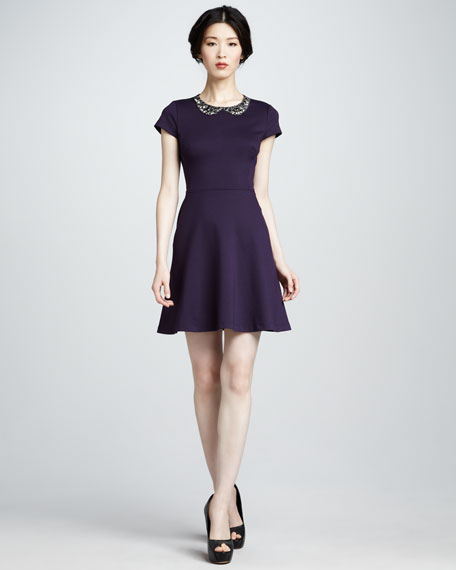 Bead-Neck Ponte Dress