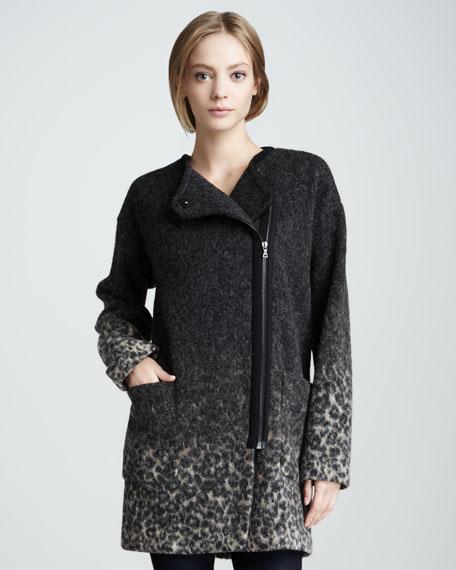Ombre Leopard-Print Coat