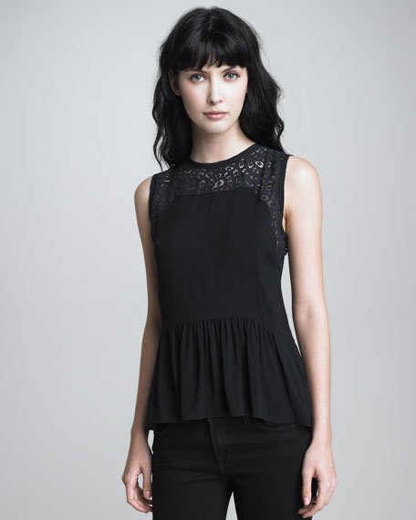 Lace-Detail Peplum Top