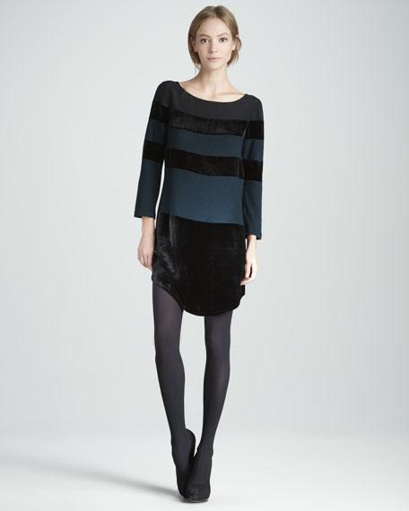 Velvet-Panel Dress
