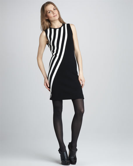 Diagonal-Stripe Knit Dress
