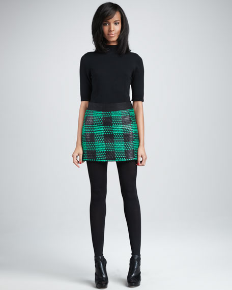 Laminated Tweed Miniskirt