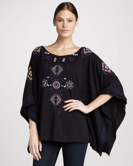 Eva Embroidered Poncho, Women's