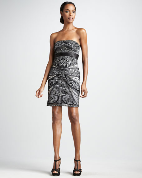 Strapless Paisley Cocktail Dress