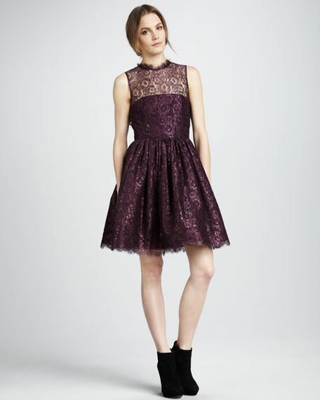 Ophelia Shimmery-Lace Dress