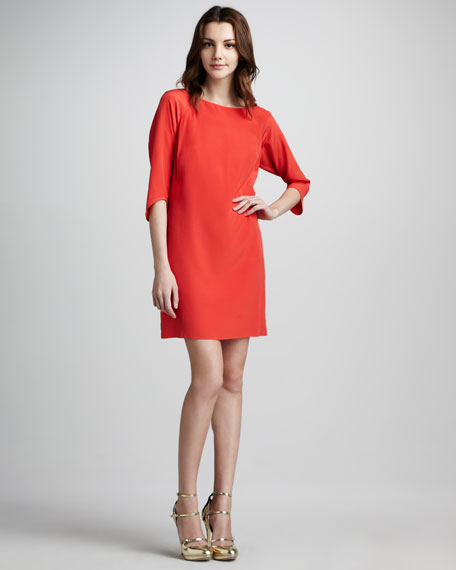 Three-Quarter-Sleeve Shift Dress
