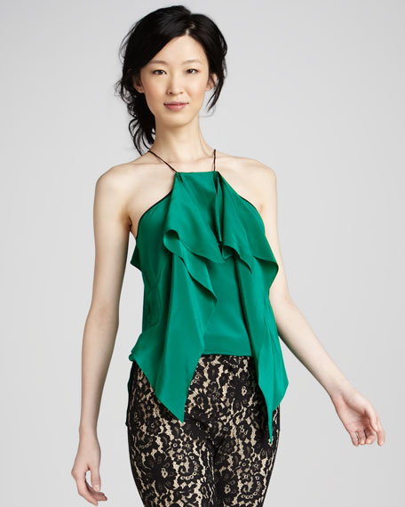 Silk Cascade Halter Top