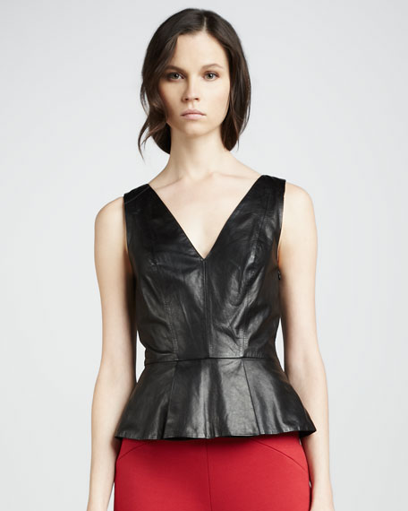 Leather Peplum Top