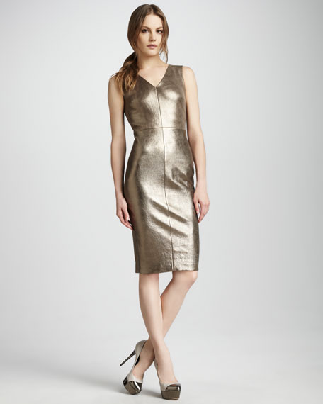 Metallic Leather Dress