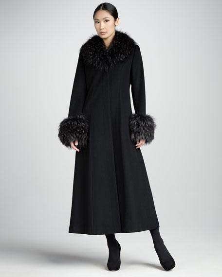 Long Cashmere Fur-Trim Coat
