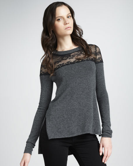 Lace-Top Cashmere Sweater