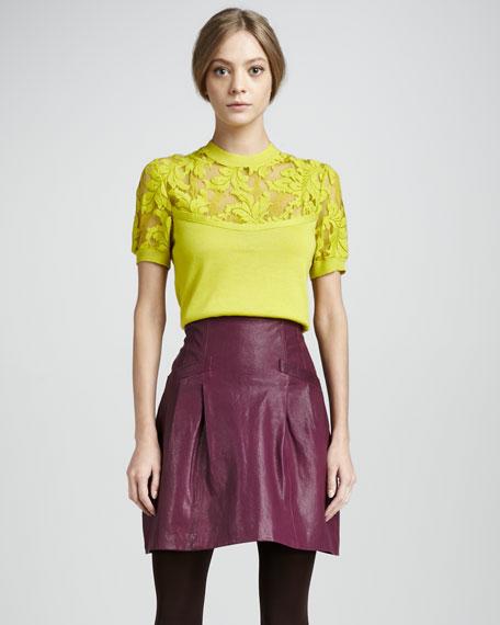 Supernatural Pleated Leather Skirt