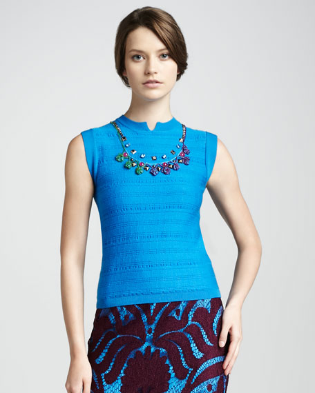 Scorpio Moon Beaded Top, Cyan