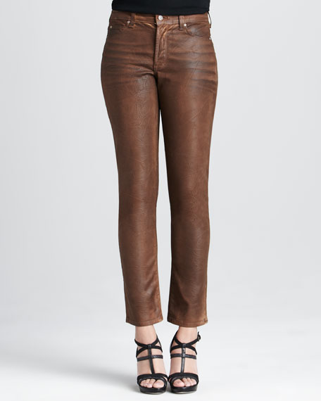 Leather-Coated Sherry Skinny Jeans