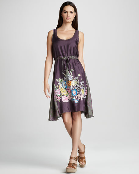 Lauren Drawstring Dress, Purple/Multi