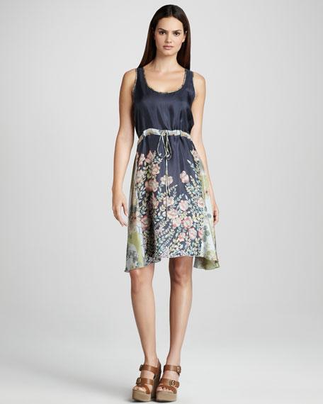 Lauren Drawstring Dress, Blue/Multi