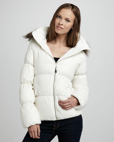 Hooded Puffer Coat, White