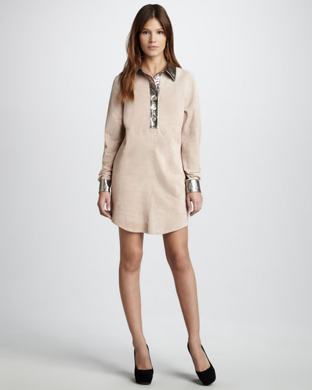 Metallic-Trim Suede Dress