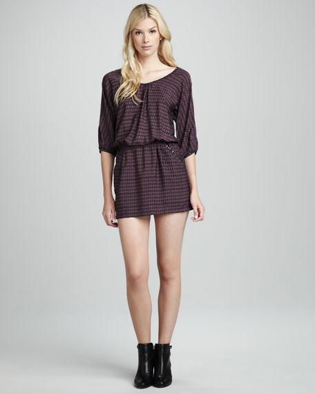 Printed Stud-Trim Dress