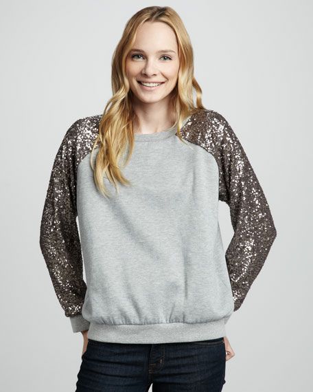 Sequin-Sleeve Pullover