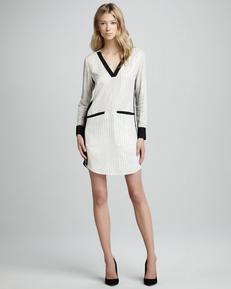 Sequined Contrast Shirtdress