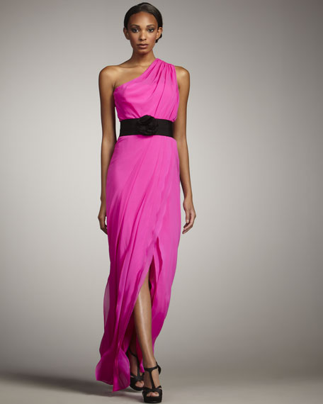Tamara Belted One-Shoulder Gown