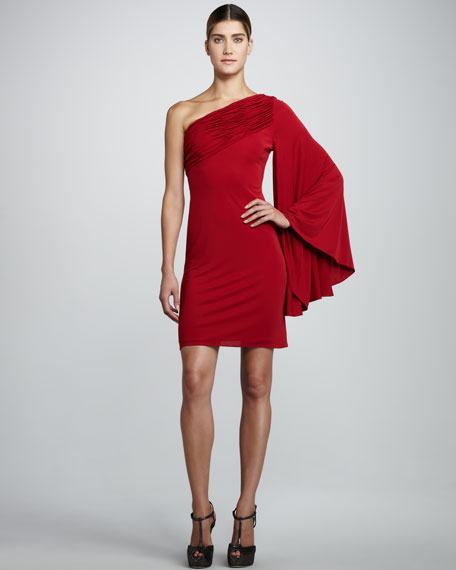 Allison One-Shoulder Dress, Ruby
