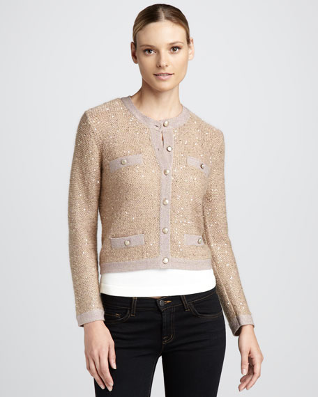 Cropped Metallic Cardigan, Petite
