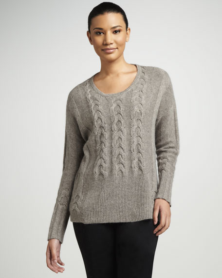 Cable-Knit High-Low Sweater