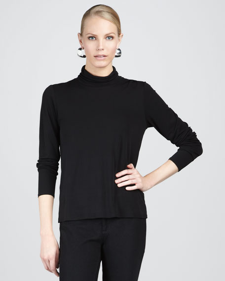 Scrunch Silk Turtleneck Top