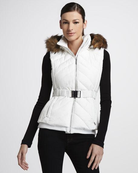 Faux-Fur Trim Puffer Vest