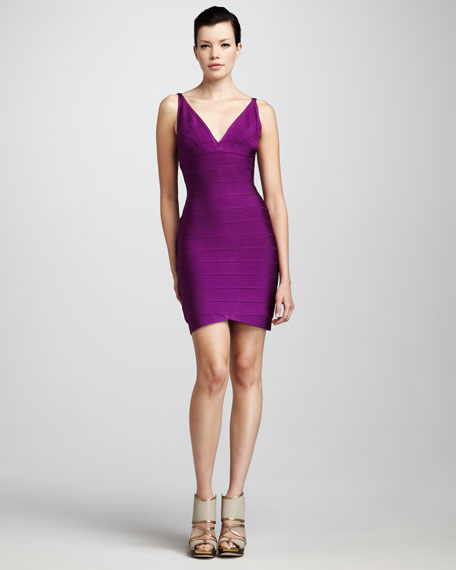 V-Neck Bandage Dress, Magenta