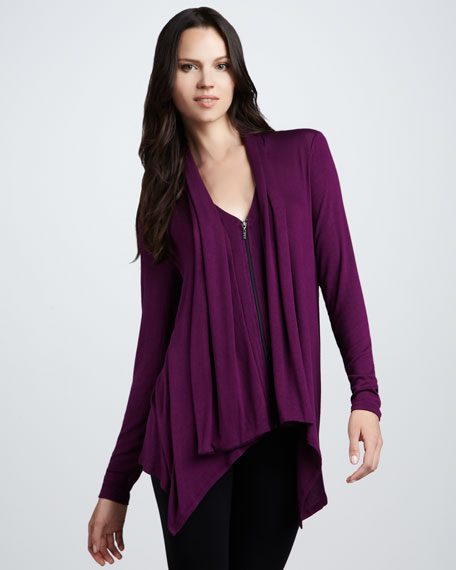 Long-Sleeve Zip Cardigan